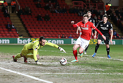 Bournemouth's Lee Camp dives to gather the ball at the feet of Charlton Athletic's Simon Church - Photo mandatory by-line: Robin White/JMP - Tel: Mobile: 07966 386802 18/03/2014 - SPORT - FOOTBALL - The Valley - Charlton - Charlton Athletic v Bournemouth - Sky Bet Championship