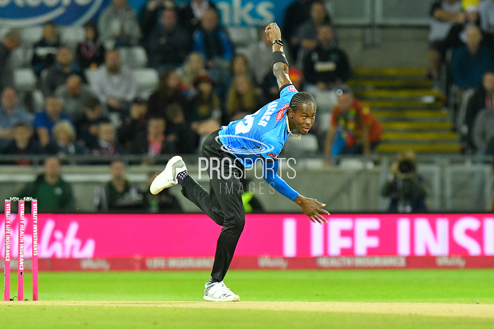 Jofra Archer of Sussex bowling during the final of the Vitality T20 Finals Day 2018 match between Worcestershire Rapids and Sussex Sharks at Edgbaston, Birmingham, United Kingdom on 15 September 2018.