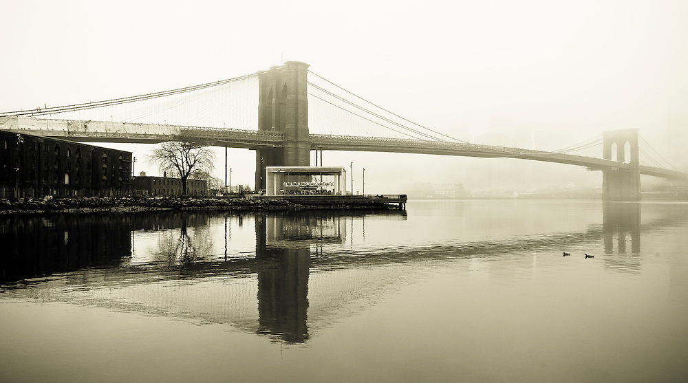 Brooklyn Bridge in the fog, DUMBO