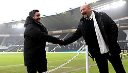 Bristol City head coach Lee Johnson shakes hands with Derby County Chief Executive Sam Rush on arrival at The iPro stadium ahead of the Sky Bet Championship fixture with Derby County - Mandatory by-line: Robbie Stephenson/JMP - 11/02/2017 - FOOTBALL - iPro Stadium - Derby, England - Derby County v Bristol City - Sky Bet Championship