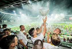 Rok Kronaveter of NK Olimpija and Tomislav Tomic of NK Olimpija celebrate with a trophy after winning during football match between NK Aluminij and NK Olimpija Ljubljana in the Final of Slovenian Football Cup 2017/18, on May 30, 2018 in SRC Stozice, Ljubljana, Slovenia. Photo by Vid Ponikvar / Sportida