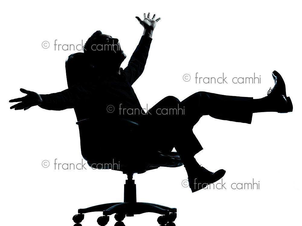 one caucasian business man happy joy  silhouette Full length in studio isolated on white background