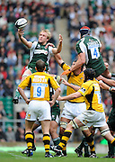 Twickenham, GREAT BRITAIN, Exiles Eoghan HICKEY, collect the high ball, during the Guinness Premiership match,  London Irish vs London Wasps, at Twickenham Stadium, Surrey on Sat 06.09.2008. [Photo, Peter Spurrier/Intersport-images]