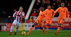 STOKE-ON-TRENT, ENGLAND - Wednesday, November 29, 2017: Stoke City's Xherdan Shaqiri and Liverpool's Georginio Wijnaldum during the FA Premier League match between Stoke City and Liverpool at the Bet365 Stadium. (Pic by David Rawcliffe/Propaganda)