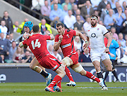 Twickenham Great Britain. Jack NOWELL, on a charging run,  tackling Alex CUTHBERT and behind Sam WARBURTON  during the 2014 RBS Six Nations Rugby; England vs Wales, at the RFU Stadium, Twickenham, England.   [Mandatory Credit; Peter Spurrier/Intersport-images]