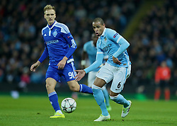 MANCHESTER, ENGLAND - Tuesday, March 15, 2016: Manchester City's Fernando Francisco Reges in action against FC Dynamo Kyiv during the UEFA Champions League Round of 16 2nd Leg match at the City of Manchester Stadium. (Pic by David Rawcliffe/Propaganda)