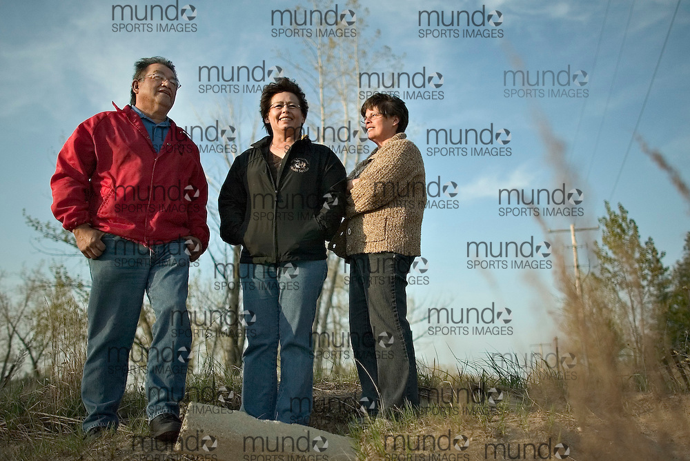 London, Ontario ---14/05/07--- Sam George and his sisters Pam George, centre and Joan Price stand near the place where their brother Dudley was shot at Ipperwash Provincial Park during a confrontation with the Ontario Provincial Police in 1995. .GEOFF ROBINS The Globe and Mail