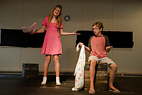 "Lily Tierno ""Sally"" and Griffin Plourde ""Linus"" at rehearsal for ""You're A Good Man, Charlie Brown"" with the Streetcar Company's SKYT - Streetcar Kids and Youth Theater on Sunday evening at Gilford Methodist Church.  (Karen Bobotas/for the Laconia Daily Sun)"