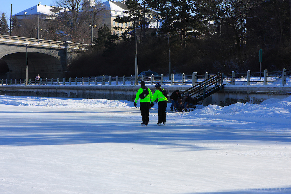 Rideau Canal in Ottawa open for skating, January 23, 2011. It is the oldest continuously operated canal system in North America. In 2007 it was registered as a UNESCO World Heritage Site. In winter part of the Rideau Canal starting from downtown Ottawa and towards Dows Lake becomes officially recognized world's largest skating rink.