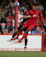 Photo: Lee Earle/Richard Lane Photography. <br /> Aldershot Town v AFC Bournemouth. Coca Cola League 2. 16/08/2008.    Aldershot's John Grant (R) and Lee Bradbury battle in the air.
