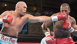 February 16, 2006 - New York, NY - Heavyweights Fres Oquendo and Daniel Bispo trade punches during their 10 round heavyweight bout at the Manhattan Center in New York, NY.  Oquendo won via 9th round TKO.