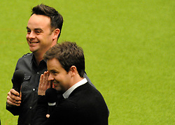 "©London News pictures. 10/03/11. Ant and Dec filming at Crufts 2011 today (Thurs). Anthony ""Ant"" McPartlin, the television presenter, was punched in the face during an unprovoked fight while watching a football match in a London pub, it emerged on Wednesday. The 35 year-old, who with Declan ""Dec"" Donnelly are collectively known as ""Ant and Dec"", was attacked as he watched the Arsenal v Barcelona Champions League match on Tuesday. Picture Credit should read Stephen Simpson/LNP"