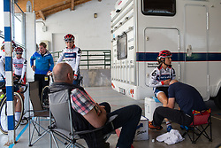 Ashleigh Moolmann-Pasio (RSA) of Cervélo-Bigla Cycling Team gets a final legrub before Stage 3 of the Emakumeen Bira - a 77.6 km road race, starting and finishing in Antzuola on May 19, 2017, in Basque Country, Spain. (Photo by Balint Hamvas/Velofocus)