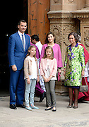 Mar 27, 2016 - Palma De Mallorca, Palma De Mallorca, Spain - Kings Felipe and Letizia, accompanied by her daughters Princess Leonor and Princess Sofia, and Queen Sofia, attend Easter Mass in the Cathedral of Palma de Mallorca, as every year (Credit Image: © Exclusivepix Media)
