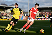 Nottingham Forest striker Ben Brereton (17) controls the ball from Burton Albion defender Kyle McFadzean (5) during the EFL Sky Bet Championship match between Burton Albion and Nottingham Forest at the Pirelli Stadium, Burton upon Trent, England on 17 February 2018. Picture by Richard Holmes.