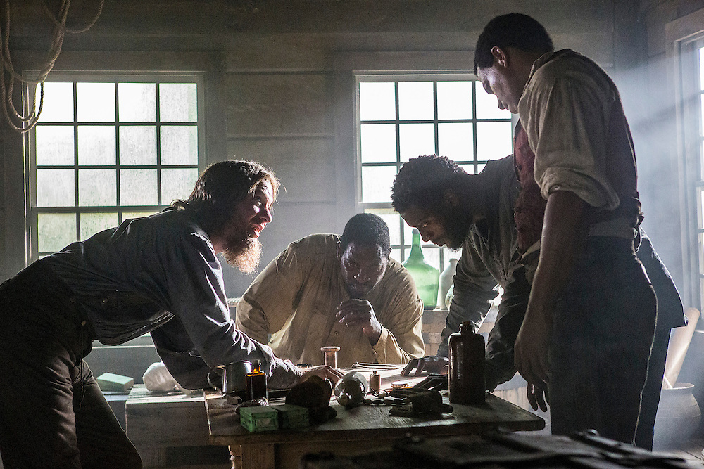 "Joseph Sikora as Frog Jack, Mykelti Williamson as Moses, Aldis Hodge as Noah and Alano Miller as Cato in WGN America's ""Underground."""
