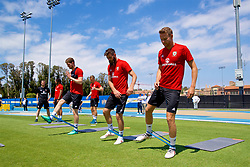 LOS ANGELES, USA - Saturday, May 26, 2018: Wales' Chris Mepham, Joe Ledley and Chris Gunter during a training session at the UCLA Drake Track and Field Stadium ahead of the International friendly match against Mexico. (Pic by David Rawcliffe/Propaganda)