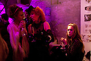 ROSE LANGLEY; CAROLE HAYMAN; ANOUSKHA BECKWITH, Stephen Webster: 7 Deadly Sins And No Regrets - launch party, Old Vic Tunnels (formerly Leake Street Tunnel), Waterloo, London SE1, 8 December 2010. DO NOT ARCHIVE-© Copyright Photograph by Dafydd Jones. 248 Clapham Rd. London SW9 0PZ. Tel 0207 820 0771. www.dafjones.com.