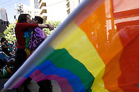 SAN FRANCISCO, CA - JUNE 24 : Two women kiss before they take part in the 37th annual LBGT Pride Parade on June 24, 2007 in San Francisco, California. Hundreds of thousands of people lined the streets of San Francisco to watch and take part in the parade.  (Photograph by David Paul Morris)