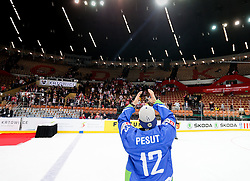 Ziga Pesut of Slovenia celebrates after the ice hockey match between National Teams of Austria and Slovenia in 5th Round of 2016 IIHF Ice Hockey World Championship Division 1 - Group A, on April 29, 2016 in Spodek Arena, Katowice, Poland. Photo by Marek Piuyzs / Sportida