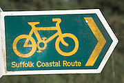 Suffolk Coastal cycle route sign