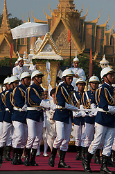 © Licensed to London News Pictures. 01/02/2013. Location, Cambodia. Funeral Procession of Late former King Norodom Sihanouk leaves the Royal Palace ahead of his Feb. 4, cremation Friday, Feb. 1, 2013, in Phnom Penh, Cambodia.  Photo credit : Charles Fox/LNP..