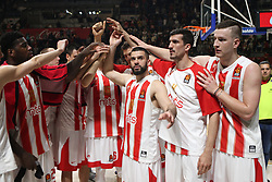 Alen Omic (R) and other players of Crvena Zvezda after the basketball match between Crvena Zvezda mts Belgrade and Real Madrid in Round #29 of Euroleague 2017/18, on March 30, 2018 in Hala Pionir, Belgrade, Serbia. Photo by Marko Metlas / Sportida
