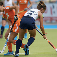 MONCHENGLADBACH - Junior World Cup<br /> Pool A: The Netherlands - USA<br /> photo: Renske Siersema (orange) and Maxine Fluharty (white) <br /> COPYRIGHT FRANK UIJLENBROEK FFU PRESS AGENCY