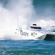 Maritimo 1, powers round a turn, Inboard Engine Class, in the Offshore Superboat Championships Coffs Harbour, New South Wales, Australia