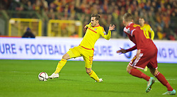 BRUSSELS, BELGIUM - Sunday, November 16, 2014: Wales' Aaron Ramsey in action against Belgium during the UEFA Euro 2016 Qualifying Group B game at the King Baudouin [Heysel] Stadium. (Pic by David Rawcliffe/Propaganda)