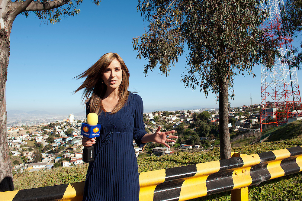 Karina Munoz, TV moderator at channel 12, Tijuana. ..@ Stefan Falke.http://www.stefanfalke.com/..