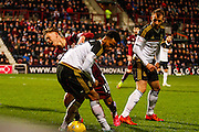Hearts FC Midfielder Sam Nicholson fouled in the box but no penalty during the Scottish Cup fourth round match between Heart of Midlothian and Aberdeen at Tynecastle Stadium, Gorgie, Scotland on 9 January 2016. Photo by Craig McAllister.