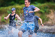 Patapsco Trail Festival Marathon and Half Marathon river crossing.