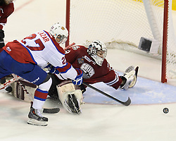 Action from the championship game at the 2014 MasterCard Memorial Cup between the Guelph Storm and Edmotno nOil Kings on Sunday May 25, 2014. Photo by Aaron Bell/CHL Images