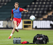 Sean McConville of Accrington Stanley practises free kicks during the warm up before the Sky Bet League 2 match at Meadow Lane, Nottingham<br /> Picture by James Wilson/Focus Images Ltd 07522 978714‬‬<br /> 25/08/2017