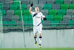 Amar Rahmanovic of NK Celje celebrates after he scored first goal for Celje during football match between NK Olimpija Ljubljana and NK Celje in Round #19 of Prva liga Telekom Slovenije 2016/17, on November 30, 2016 in SRC Stozice, Ljubljana Slovenia. Photo by Vid Ponikvar / Sportida