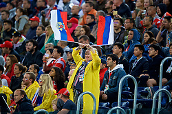 SAINT PETERSBURG, RUSSIA - Tuesday, June 19, 2018: Russia supporters celebrate during the FIFA World Cup Russia 2018 Group A match between Russia and Egypt at the Saint Petersburg Stadium. (Pic by David Rawcliffe/Propaganda)