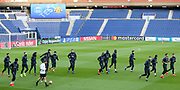 Manchester United players warm up during the Manchester United Training session ahead of the Paris Saint-Germain vs Manchester United Champions League match at Parc des Princes, Paris, France on 5 March 2019.