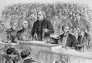 John Bright (1811-1889) English Quaker Radical statesman. Advocate of the Anti-Corn Law League and of Free Trade.  Bright speaking at an election meeting at Birmingham, November 1885. Engraving.