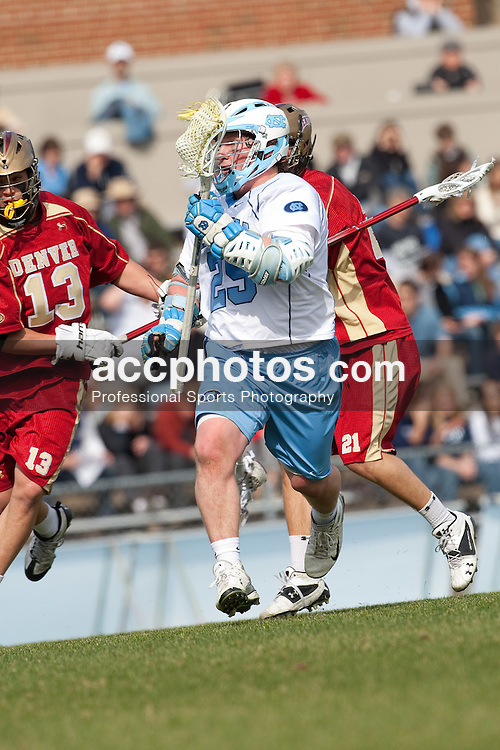 14 February 2009: North Carolina Tar Heels midfielder Shane Walterhoefer (25) during a 20-7 win over the Denver Pioneers on Fetzer Field in Chapel Hill, NC.