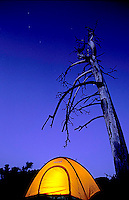 Tent camping above Lake Tahoe, CA.<br />