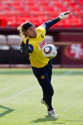 August 3, 2010; San Francisco, CA, USA;  Club America goalkeeper Armando Navarrete (12) practices at Candlestick Park a day before their match with Real Madrid.