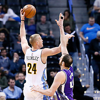 06 March 2017: Denver Nuggets center Mason Plumlee (24) goes for the baby hook over Sacramento Kings center Kosta Koufos (41) during the Denver Nuggets 108-96 victory over the Sacramento Kings, at the Pepsi Center, Denver, Colorado, USA.