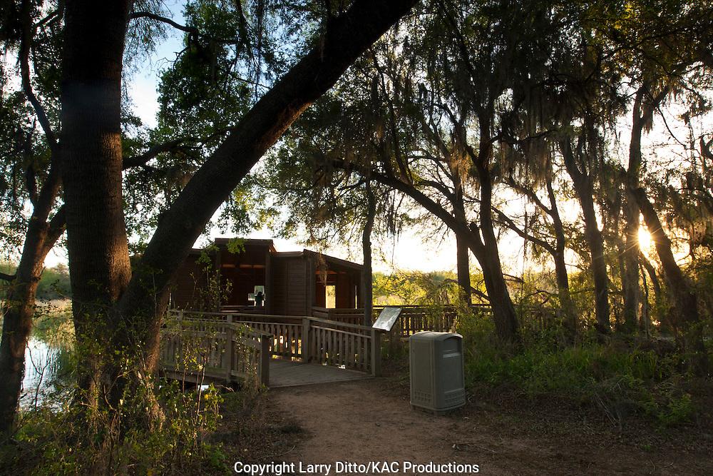 Birding and Photography Blind on walking trail at Santa Ana National Wildlife Refuge