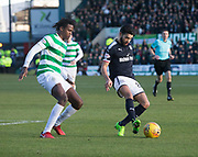 26th December 2017, Dens Park, Dundee, Scotland; Scottish Premier League football, Dundee versus Celtic; Dundee's Faissal El Bakhtaoui and Celtic's Dedryck Boyata