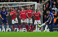 Football - 2018 / 2019 FA Cup - Third Round: Chelsea vs. Nottingham Forest<br /> <br /> Emerson of Chelsea takes a free kick over the Forest wall , at Stamford Bridge.<br /> <br /> COLORSPORT/ANDREW COWIE