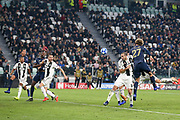 Manchester United Midfielder Marouane Fellaini battles with Juventus Defender Giorgio Chiellini and heads at goal for an own goal by Juventus Defender Alex Sandro during the Champions League Group H match between Juventus FC and Manchester United at the Allianz Stadium, Turin, Italy on 7 November 2018.
