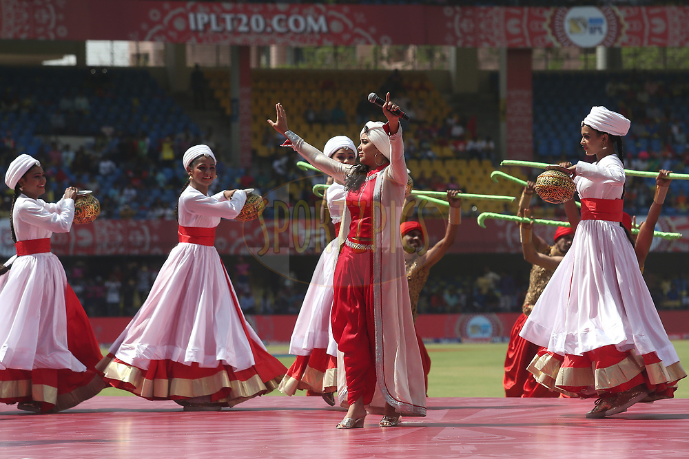 Harshdeep Kaur performs during the opening ceremony before match 4 of the Vivo 2017 Indian Premier League between the Kings XI Punjab and the Rising Pune Supergiant held at the Holkar Cricket Stadium in Indore, India on the 8th April 2017<br /> <br /> Photo by Shaun Roy - IPL - Sportzpics