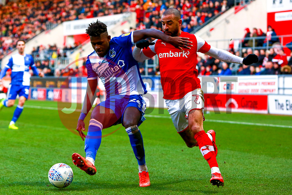 Rollin Menayese of Bristol Rovers holds off pressure from Kyle Vassell of Rotherham United - Mandatory by-line: Ryan Crockett/JMP - 18/01/2020 - FOOTBALL - Aesseal New York Stadium - Rotherham, England - Rotherham United v Bristol Rovers - Sky Bet League One