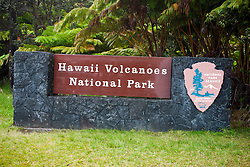 Hawaii Volcanoes National Park sign, The Big Island, Hawaii, United States of America